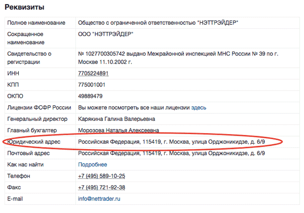 российская регистрация